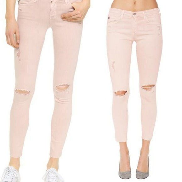 Ag Adriano Goldschmied Denim - Ag blush pink Legging ankle distressed skinny